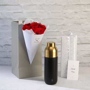 Collar Thermo Bottle with Roses