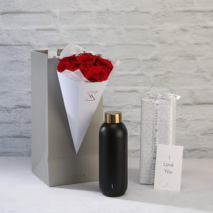 Collar water bottle with Roses