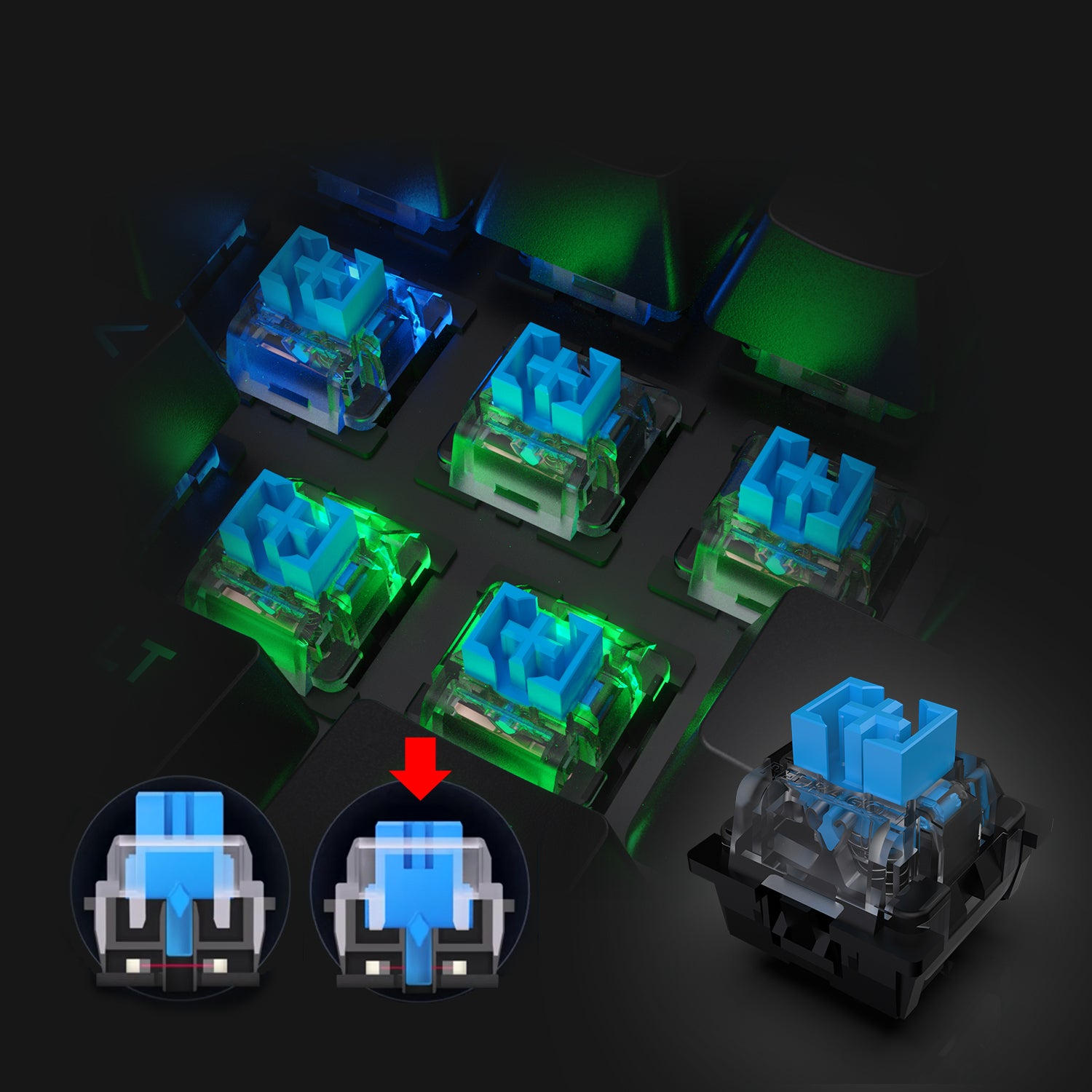 OUTEMU optical-mechanical blue switches
