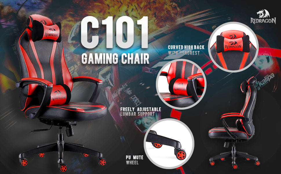 Redragon C101 Gaming Chair Ergonomic Racing Style PU Leather High-Back Office PC Computer Swivel Chair Adjustable Height Professional