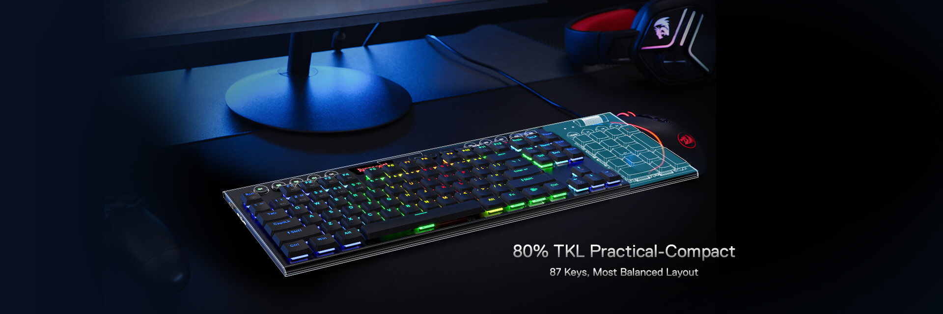 5.0 BT/2.4 Ghz/Wired Three Modes TKL Ultra-Thin Low Profile Bluetooth Keyboard w/Dedicated Media Control & Linear Red Switches