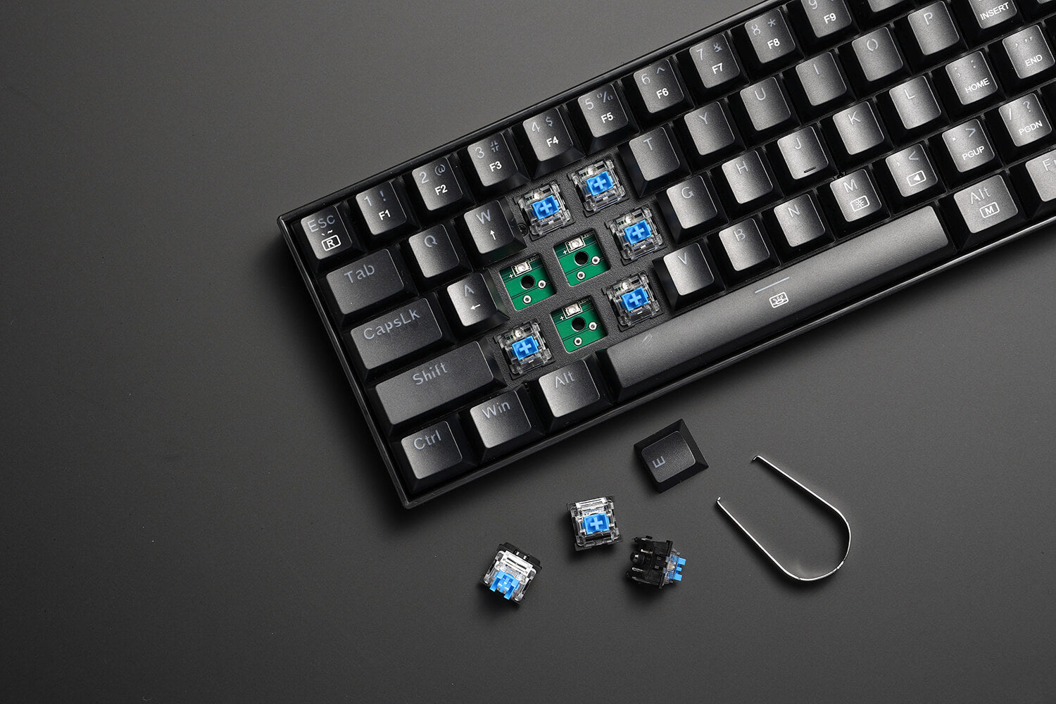 61 Keys Compact Mechanical Keyboard with Tactile Blue Switch