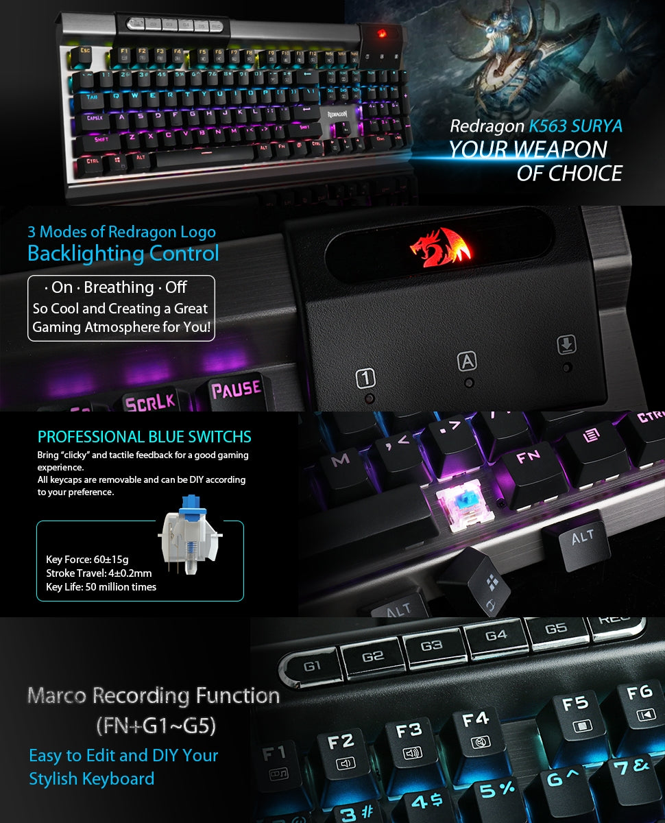 Redragon Surya K563 RGB LED Backlit Mechanical Gaming Keyboard
