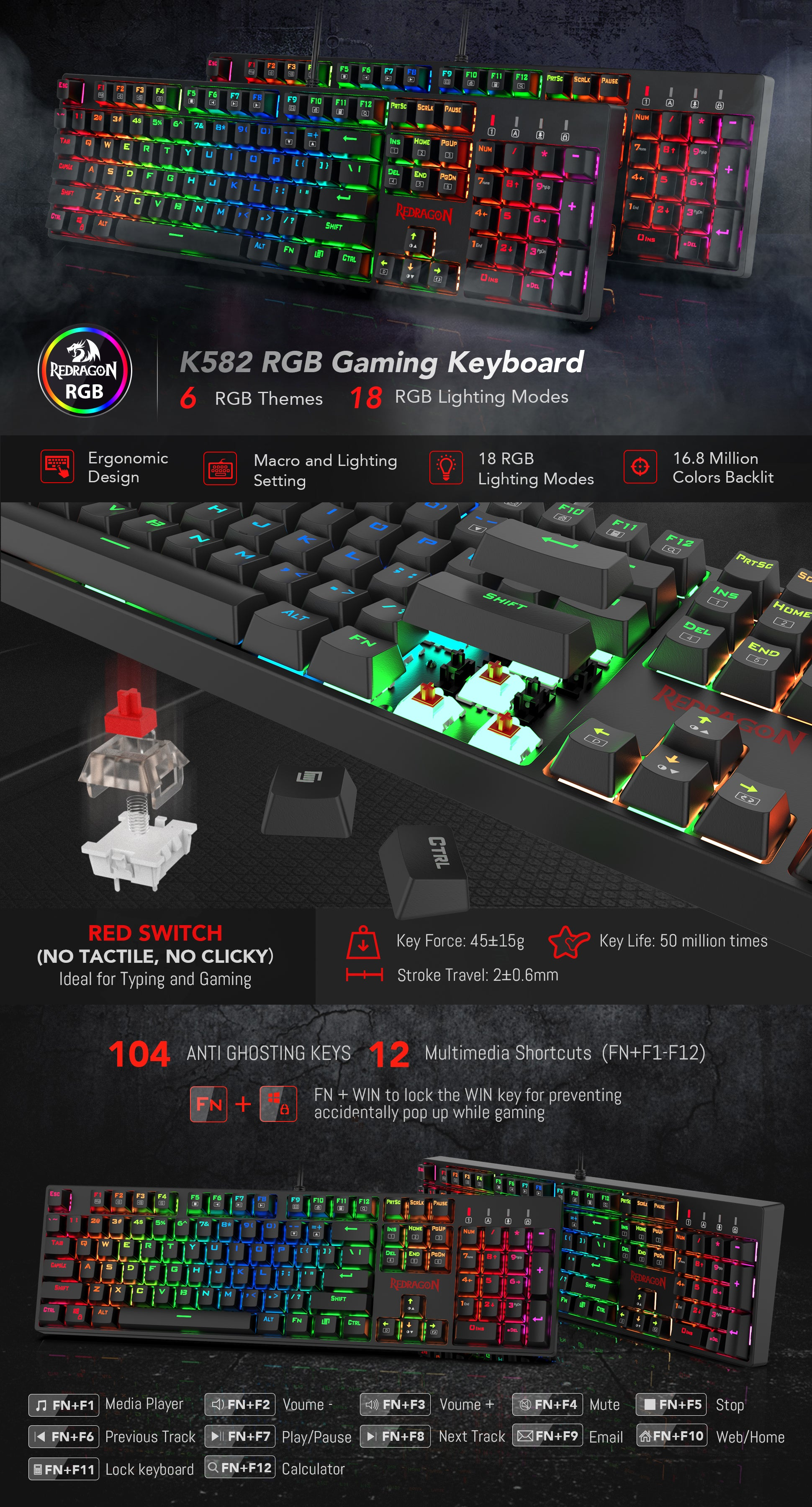 Redragon K582 SURARA RGB LED Backlit Mechanical Gaming Keyboard