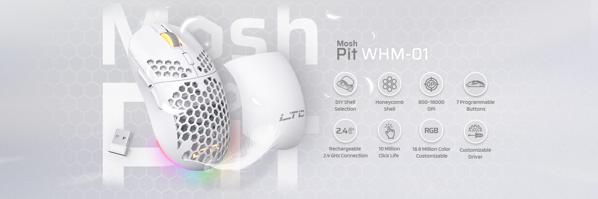 LTC Mosh Pit RGB Wireless/Wired Gaming Mouse with Ultra Lightweight Honeycomb Shell, Adjustable 16,000 DPI