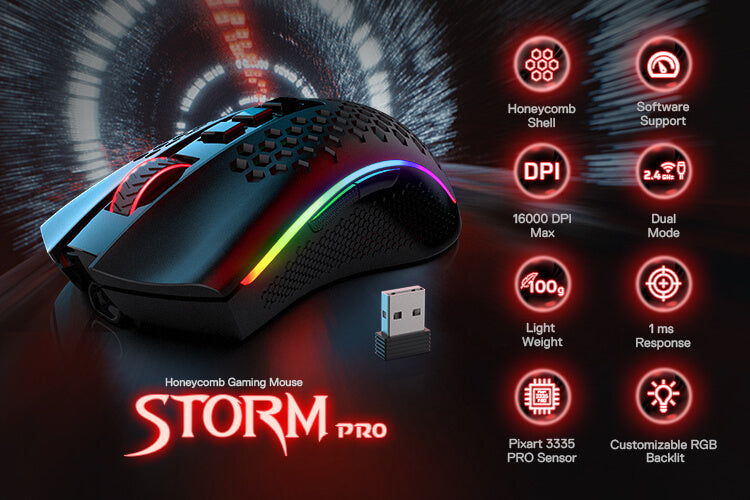 Redragon M808 Storm Pro RGB Wireless honeycomb Gaming Mouse