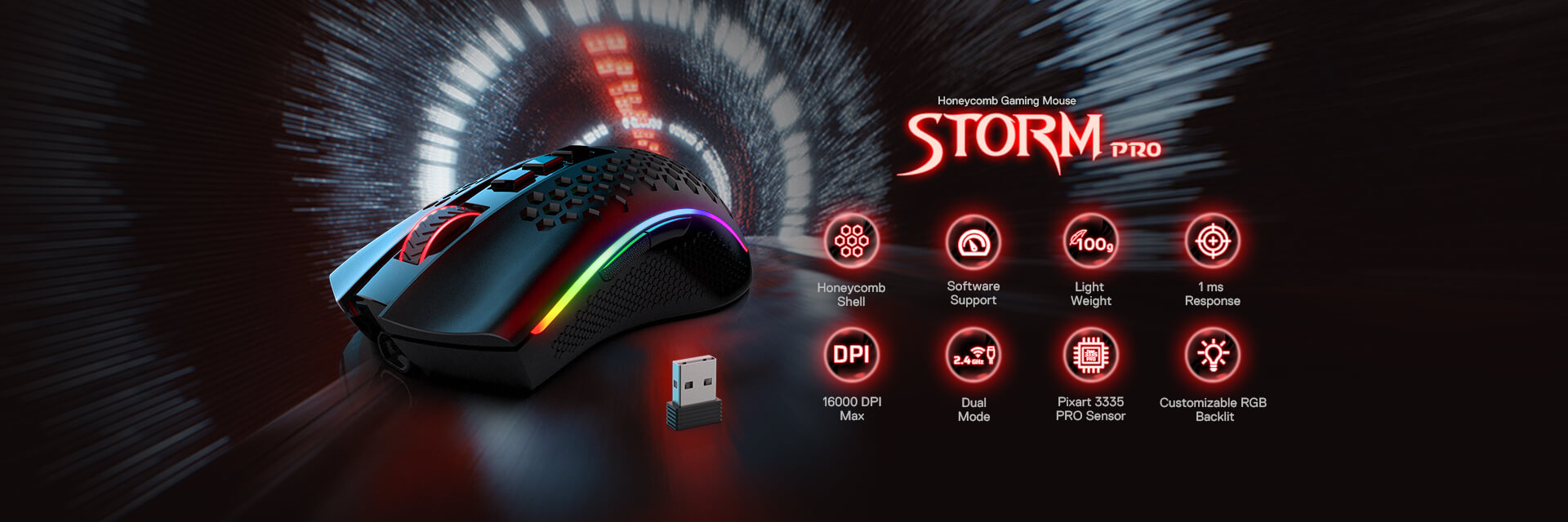 Redragon M808 Storm Pro Wireless Gaming Mouse