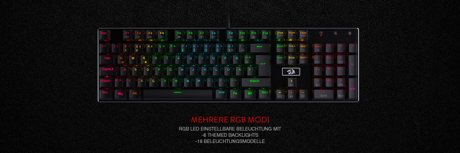 Redragon K556-DE Mechanische Gaming Tastatur, QWERTZ