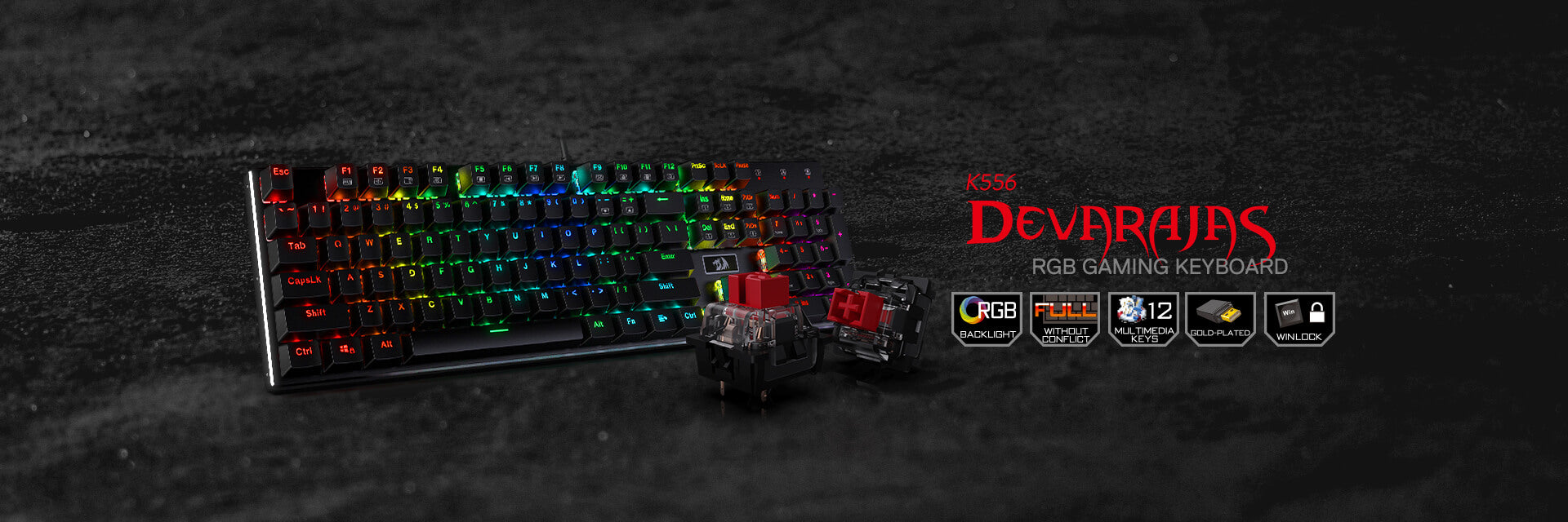 redragon k556 red switches keyboard