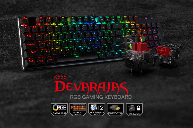 redragon gaming keyboard with rgb backlight k556 red switches