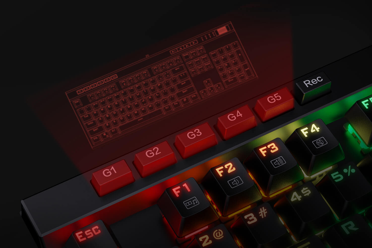 K580pro brown redragon keyboard with Onboard Macro Keys