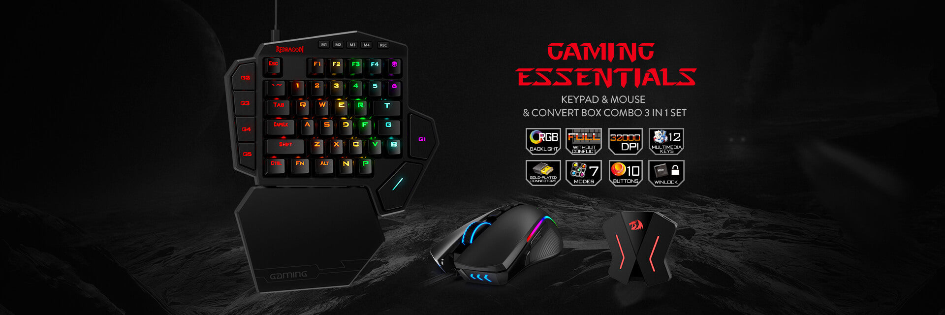 Redragon RGB K585 gaming keypad, M721 RGB gaming mouse and a GA200 converter