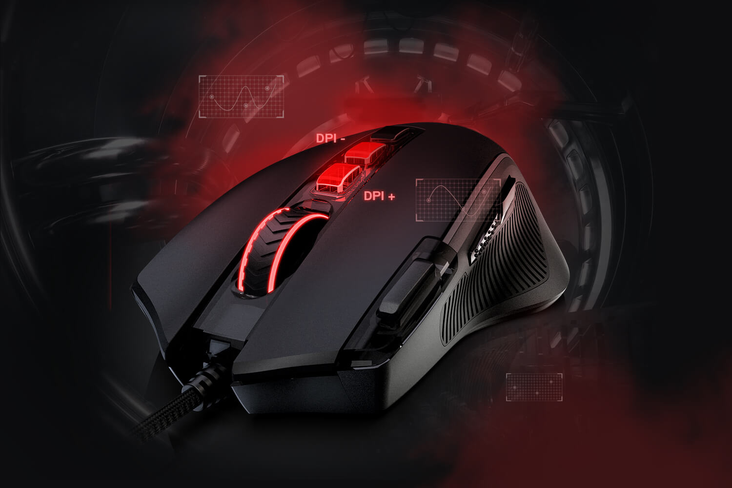 8000 DPI Wired Optical Gamer Mouse with  11 Programmable Buttons & 5 Backlit Modes