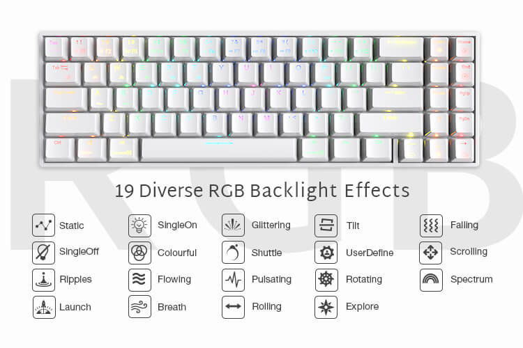70% RGB Wireless Mechanical Gaming Keyboard with Stand-Alone Arrow Keys & Function Keys