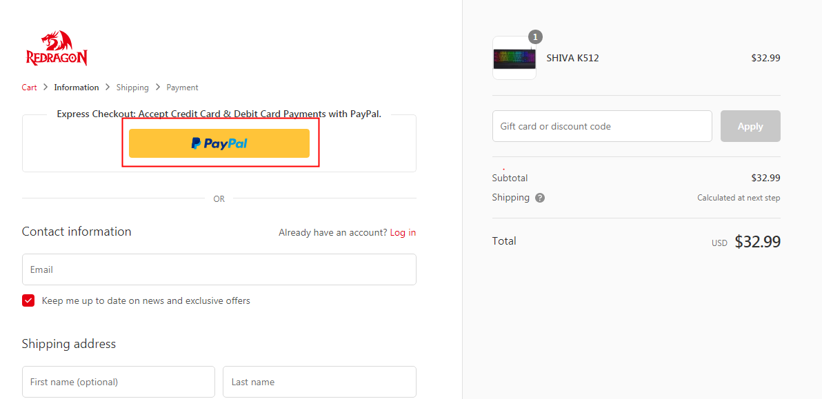 Select PayPal still even if you don't have a PayPal account.