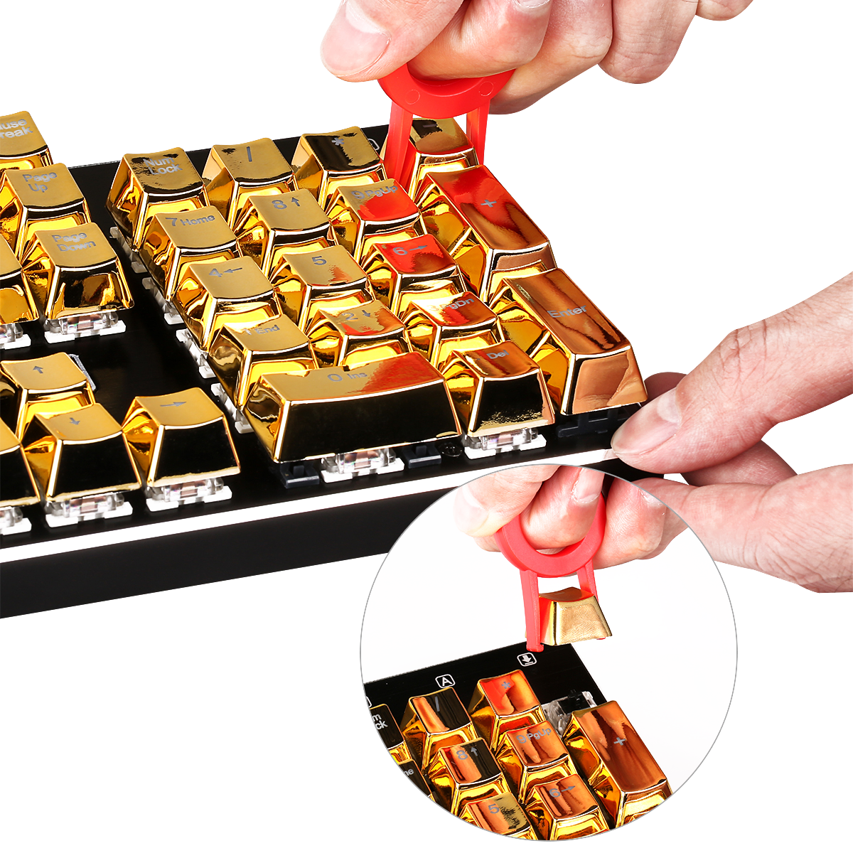 Redragon A101G 104 ABS Double Shot Injection Backlit Metallic Electroplated Gold Color Keycaps