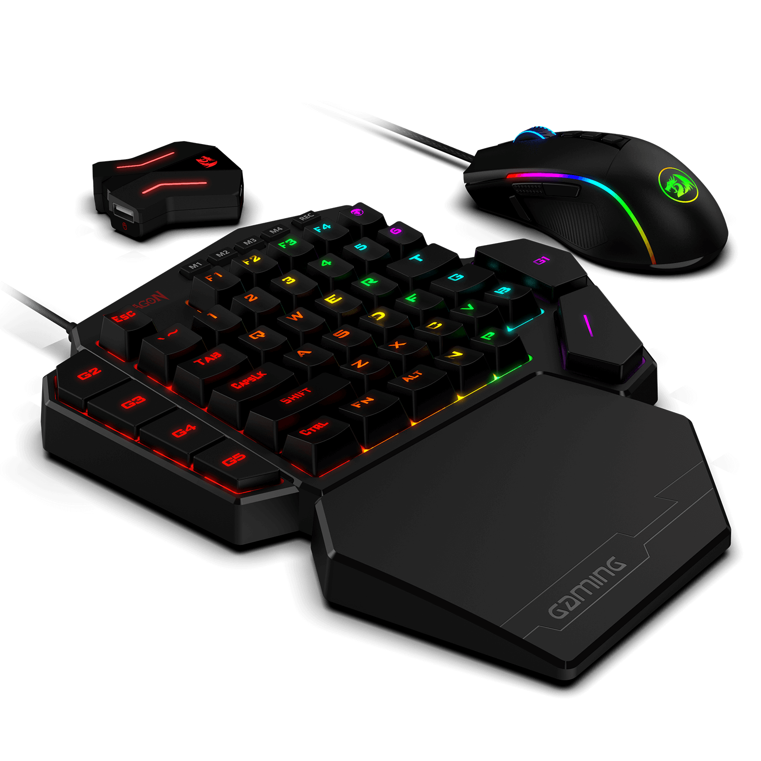 Redragon K585 One-handed RGB Gaming Keyboard and M721-Pro Mouse ps4 adapterCombo