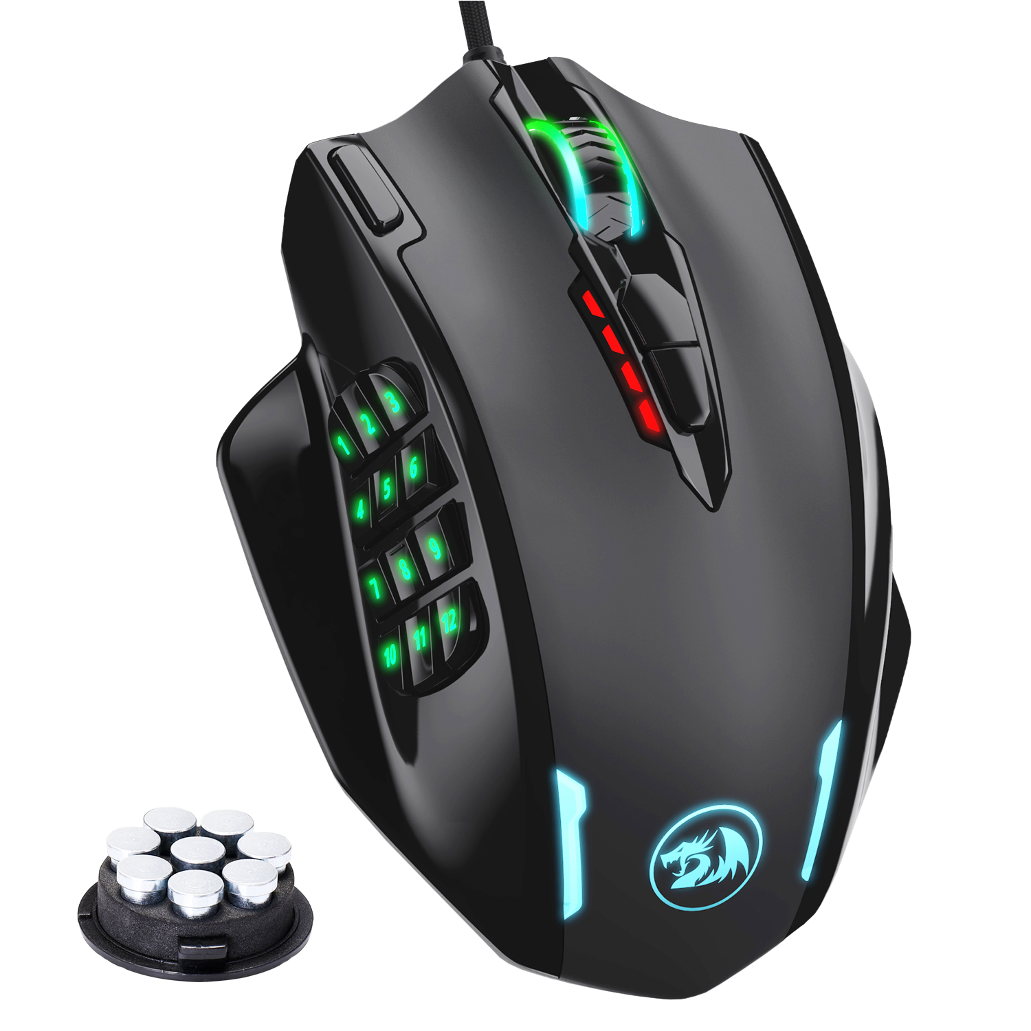 Redragon M908 Impact RGB LED MMO Mouse with Side Buttons Laser Wired Gaming Mouse