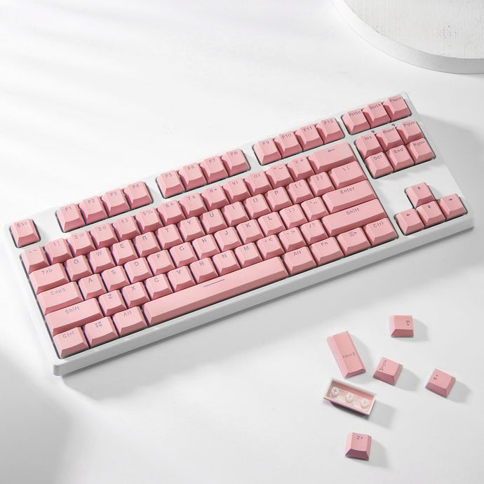 (Only Keycaps) Redragon X LTC Double Shot PBT 104 Keycaps Set with Translucent Layer, Double Shot Keycaps for Mechanical Keyboard - Macaron Pink