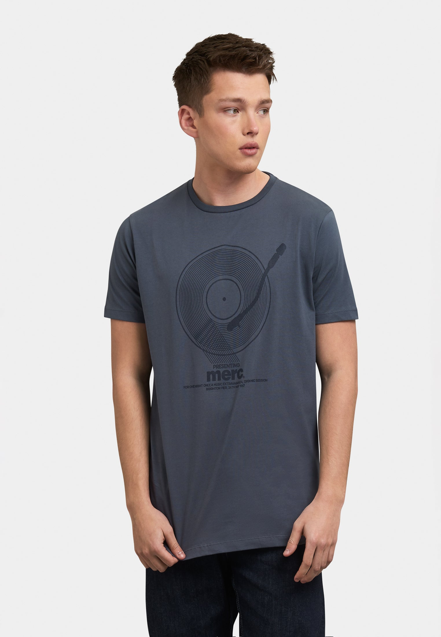 Toomey Vinyl Record Printed T-Shirt Front - Merc London