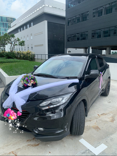 Bridal Car decor - Artificial Flowers with White Netting