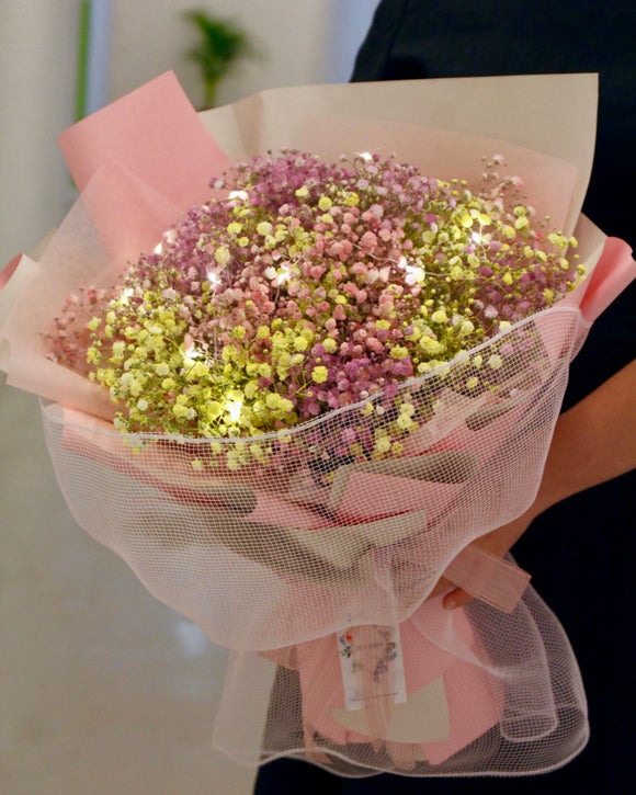 Baby's Breath Bouquet- Rainbow of Love