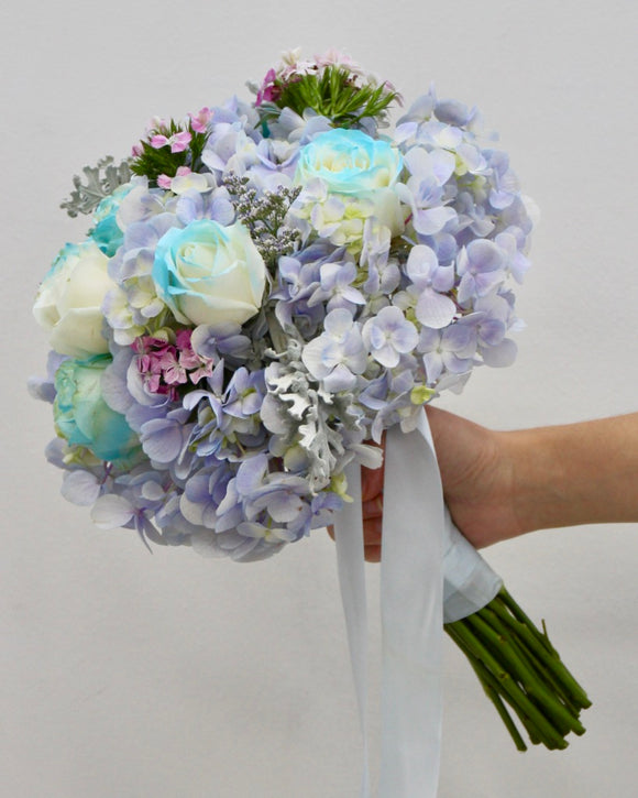 Bridal Bouquet blue rose | Free Flower Delivery | V Florist SG