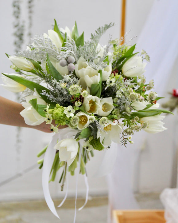Bridal Bouquet - White Tulips