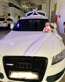 Bridal Car decor - Artificial Flowers with Bears