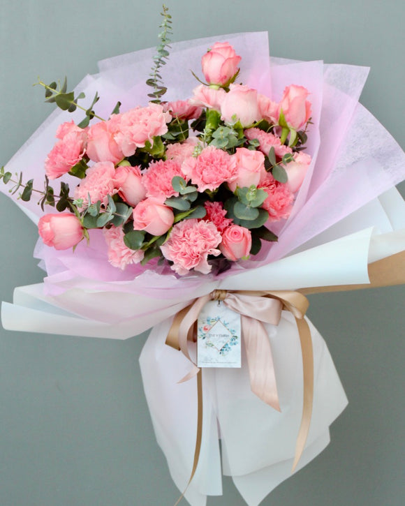 Carnations with Roses Flower Bouquet | Free Flower Delivery | V Florist SG
