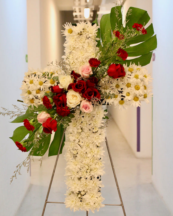 Condolence Cross Stand with Fresh Flowers