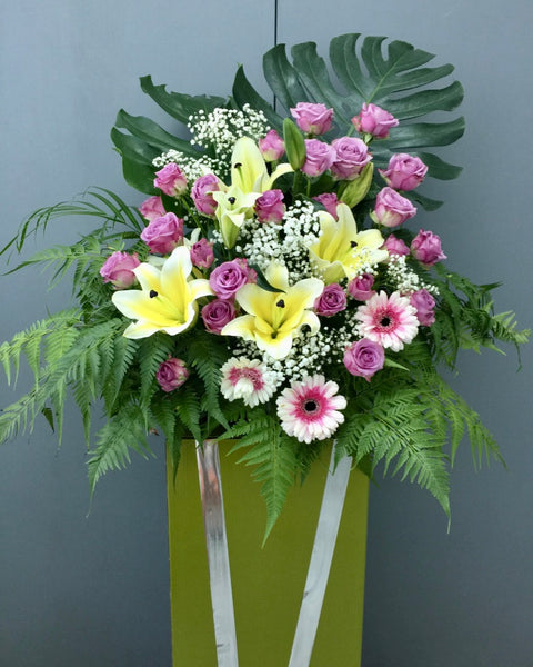 Condolence Flower Stand | funeral flowers | Free Flower Delivery | V Florist SG