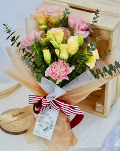 Champagne Eustoma Flower Bouquet | Free Flower Delivery | V Florist SG