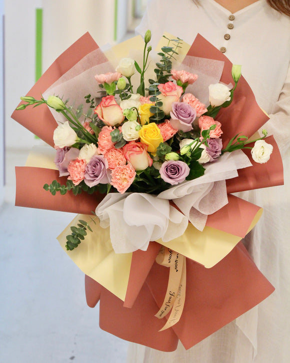 carnation and Eustoma Flower Bouquet | Free Flower Delivery | V Florist SG