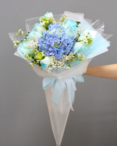 Blue rose and hydrangea bouquet | Free Flower Delivery | V Florist SG