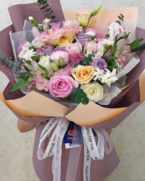 Eustoma and rose Flower Bouquet | Free Flower Delivery | V Florist SG