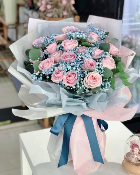 Roses with Blue Baby's Breath