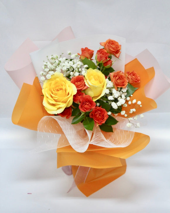 Spray Rose Bouquet - Orange Juice | Free Flower Delivery | V Florist SG