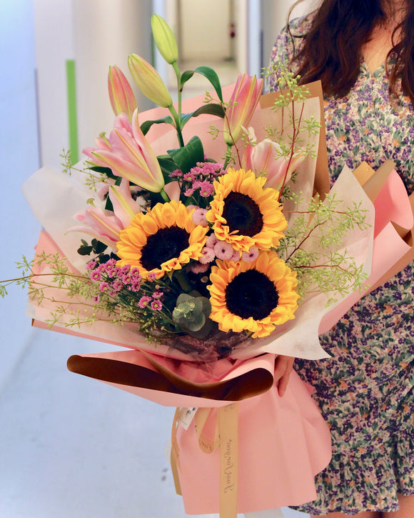 Flower Bouquet - Lily and sunflower | Free Flower Delivery | V Florist SG