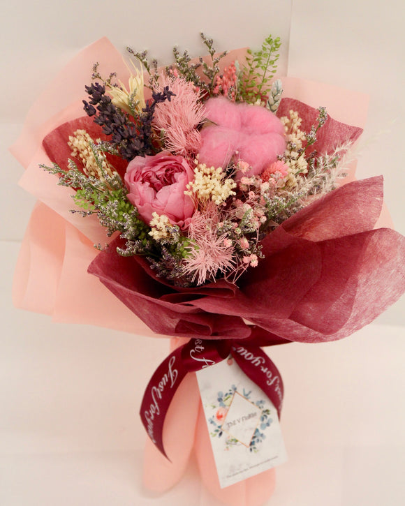 Preserved Flower Bouquet - Pink Rose