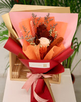 Preserved Flower Bouquet - Champagne Rose - oak leaves - Free Delivery