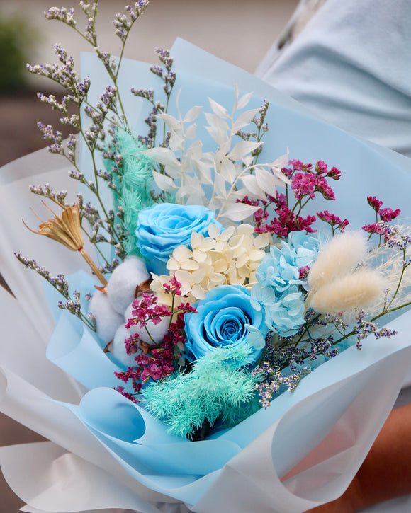 Preserved Rose Bouquet - Sky Blue
