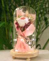 Preserved Rose Bouquet in Glass Dome