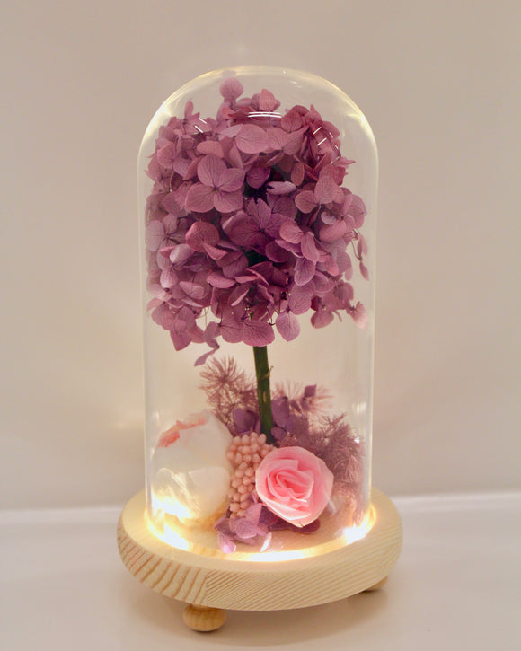 Preserved Rose and Purple Hydrangea Glass Dome - FREE delivery