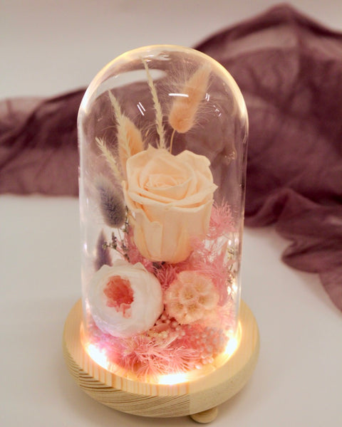 Preserved Rose in Glass Dome- FREE SG flower delivery - V Florist SG