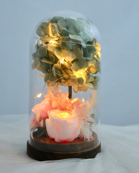 Preserved Rose and Hydrangea Glass Dome