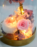 Preserved Rose and Purple Hydrangea Glass Dome