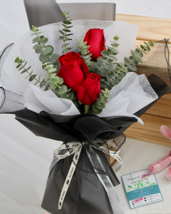 Red Rose and Eucalyptus Bouquet | Free Flower Delivery | V Florist SG