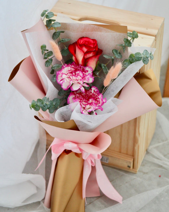 Carnations and Roses Flower Bouquet | Free Flower Delivery | V Florist SG