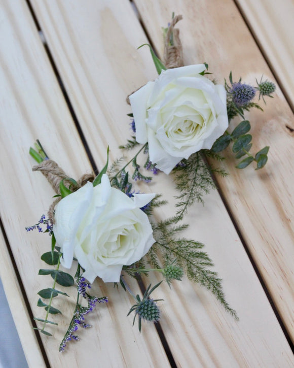 Wedding Groom Corsage - White Rose
